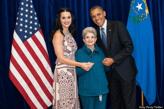 Katy Perry and her grandma meet Obama in 2012. (Katy Perry Twitter)