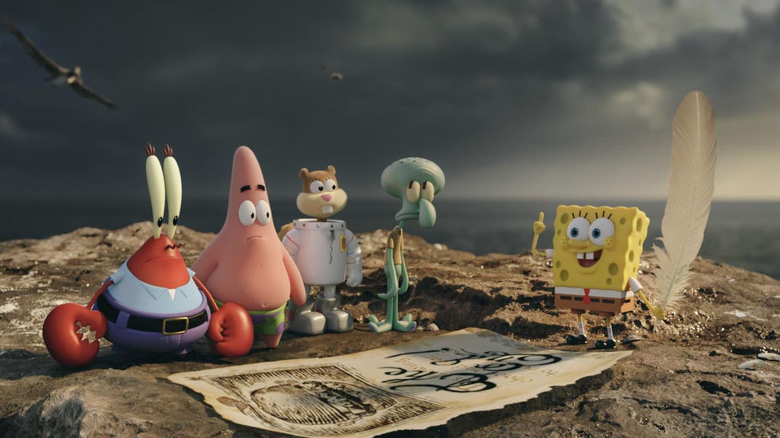 "This image released by Paramount Pictures and Nickelodeon Movies shows characters, from left, Mr. Krabs, Patrick Star, Sandy Cheeks, Squidward Tentacles, and SpongeBob SquarePants in a scene from ""The Spongebob Movie: Sponge Out of Water."" (AP Photo)"