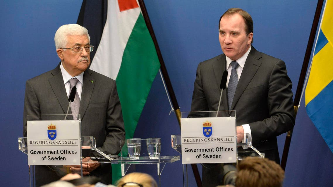 Sweden's Prime Minister Lofven speaks during a joint news conference with Palestinian President Abbas at the Rosenbad government headquarters in Stockholm Reuters