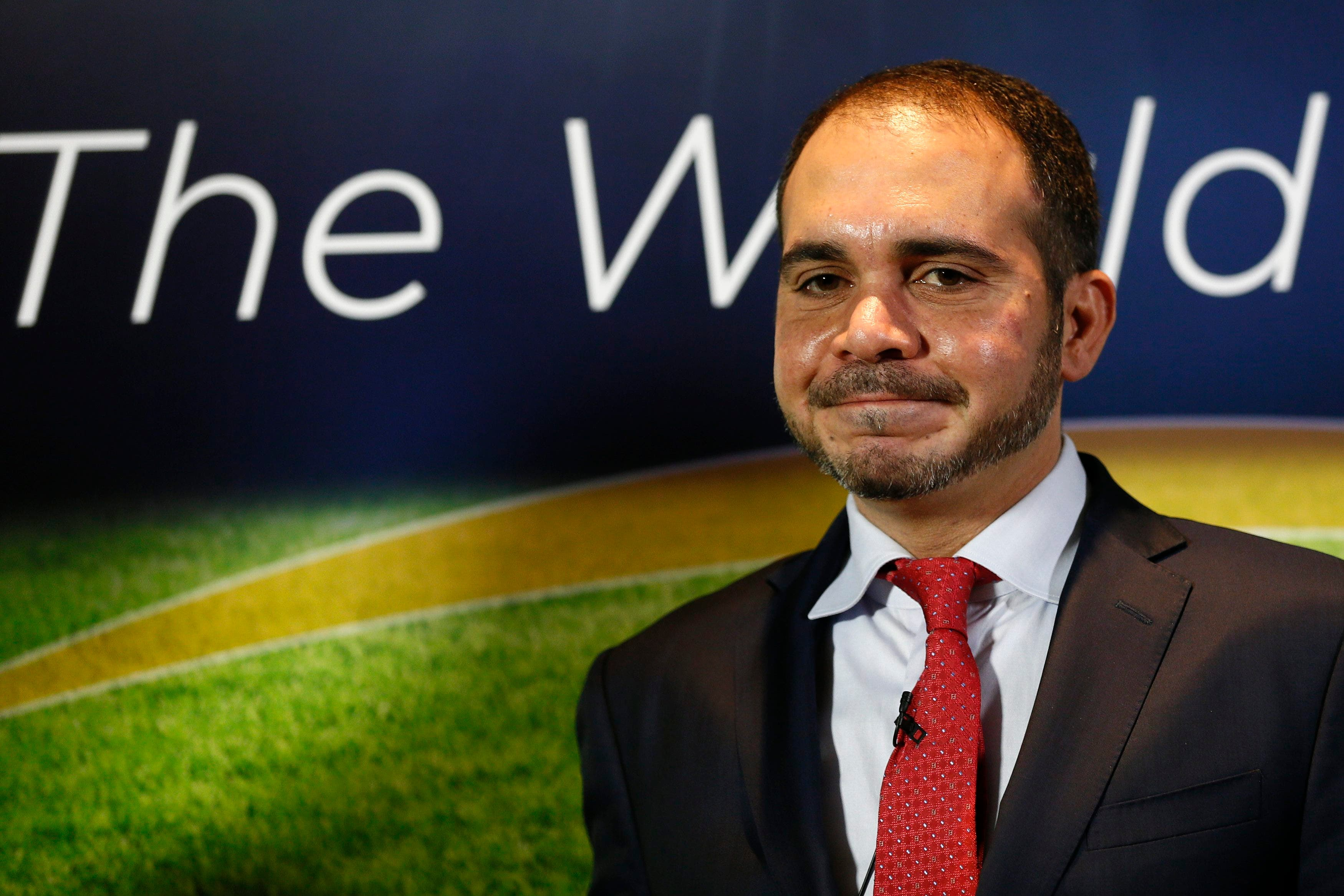 Jordan's Prince Ali Bin Al-Hussein, FIFA's Asian vice president and chairman of the Jordan Football Association, poses for photographers after a news conference in central London February 3, 2015. Reuters