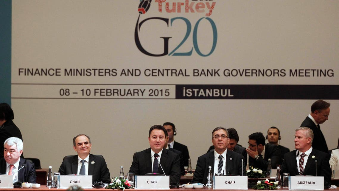 Turkish Deputy Prime Minister Ali Babacan (C) speaks during the G20 finance ministers and central bank governors meeting in Istanbul Feb. 10, 2015. (AFP)