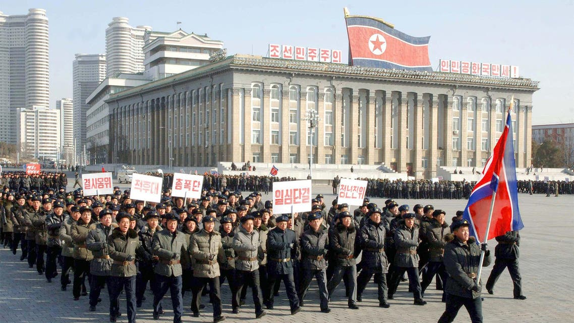 North Korean youths march at a Pyongyang square, in this undated photo released by North Korea's Korean Central News Agency (KCNA) in Pyongyang on February 8, 2015. (Reuters)