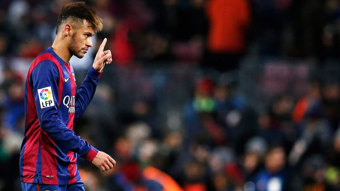 Barcelona's Neymar celebrates his goal against Villarreal during their Spanish first division soccer match at Nou Camp stadium in Barcelona February 1, 2015. Reuters
