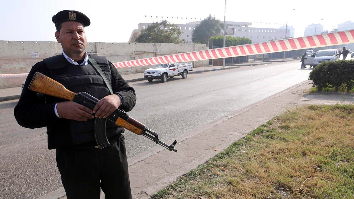 A member of the Egyptian security services guards the site of a bomb blast near the Alf Maskan district of Cairo, January 25, 2015. (File photo: Reuters)