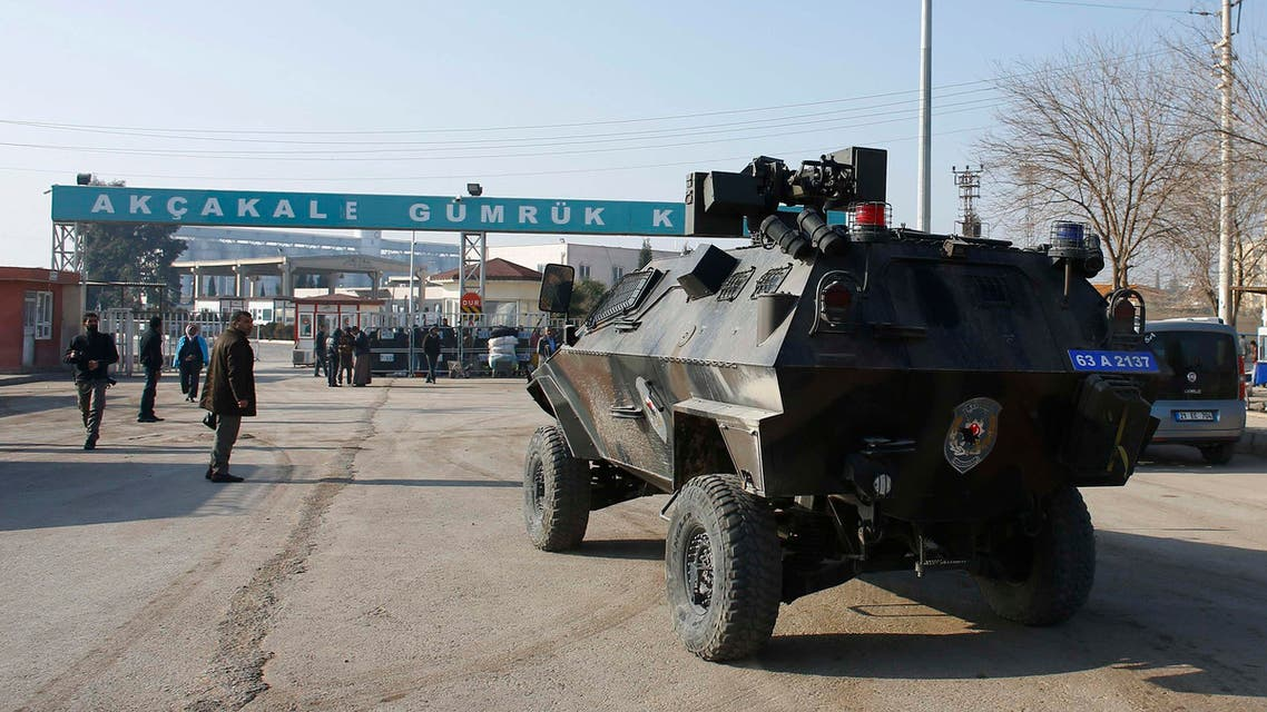 An armoured Turkish police vehicle is driven to the Akcakale border gate in Sanliurfa province, southeastern Turkey, where ISIS militants control the Syrian side of the gate, January 29, 2015. (File photo: Reuters)
