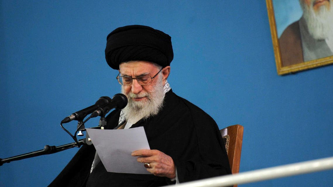 In this picture released by the official website of the office of the Iranian supreme leader, Supreme Leader Ayatollah Ali Khamenei reads a note during his speech in a public gathering at his residence in Tehran, Iran, Wednesday, Jan. 7, 2015. (AP)
