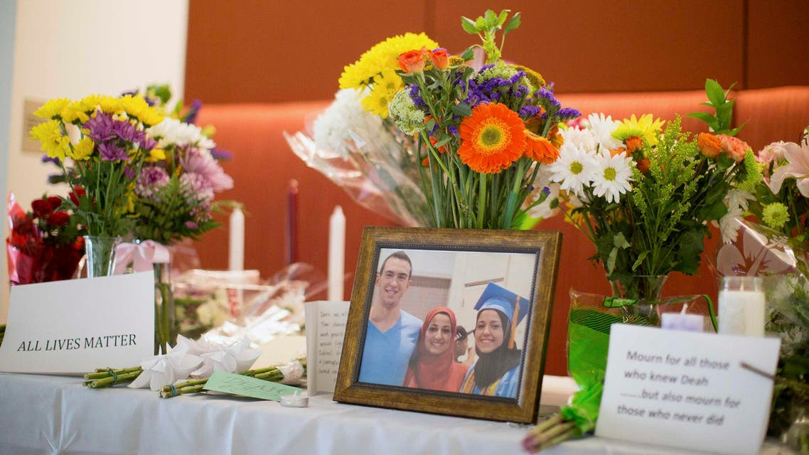 A makeshift memorial for Deah Shaddy Barakat, his wife Yusor Mohammad and Yusor's sister Razan Mohammad Abu-Salha, who were killed by a gunman, is pictured inside of the University of North Carolina School of Dentistry, in Chapel Hill, North Carolina February 11, 2015. Reuters