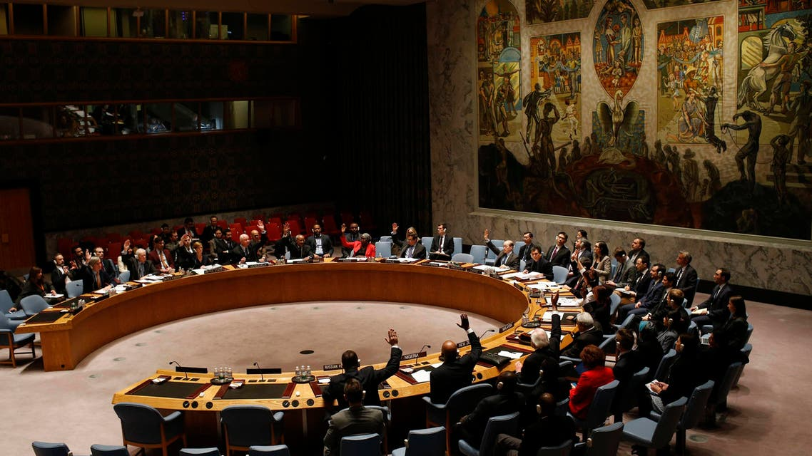 The United Nations Security Council votes in favor of a resolution demanding the Houthi militia's withdrawal from Yemeni government institutions. (Reuters)
