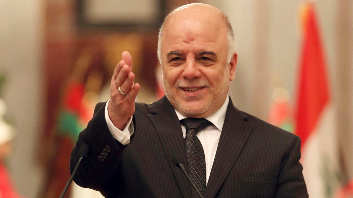 Iraqi Prime Minister Haider al-Abadi speaks at a press conference with Jordan's Prime Minister Abdullah Ensour in Baghdad, Iraq, Thursday, Dec. 18, 2014. (AP)
