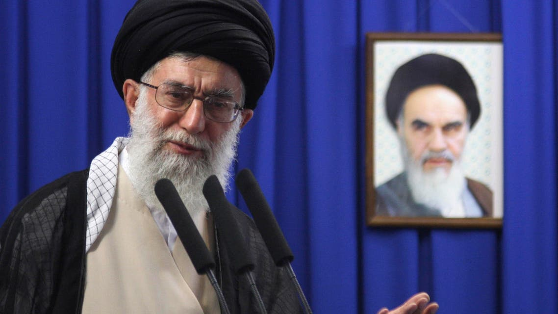 Iran's Supreme Leader Ayatollah Ali Khamenei, delivers his sermon in front of a picture of the late spiritual leader Ayatollah Khomeini, during the Friday prayers, in Tehran. (File photo: AP)