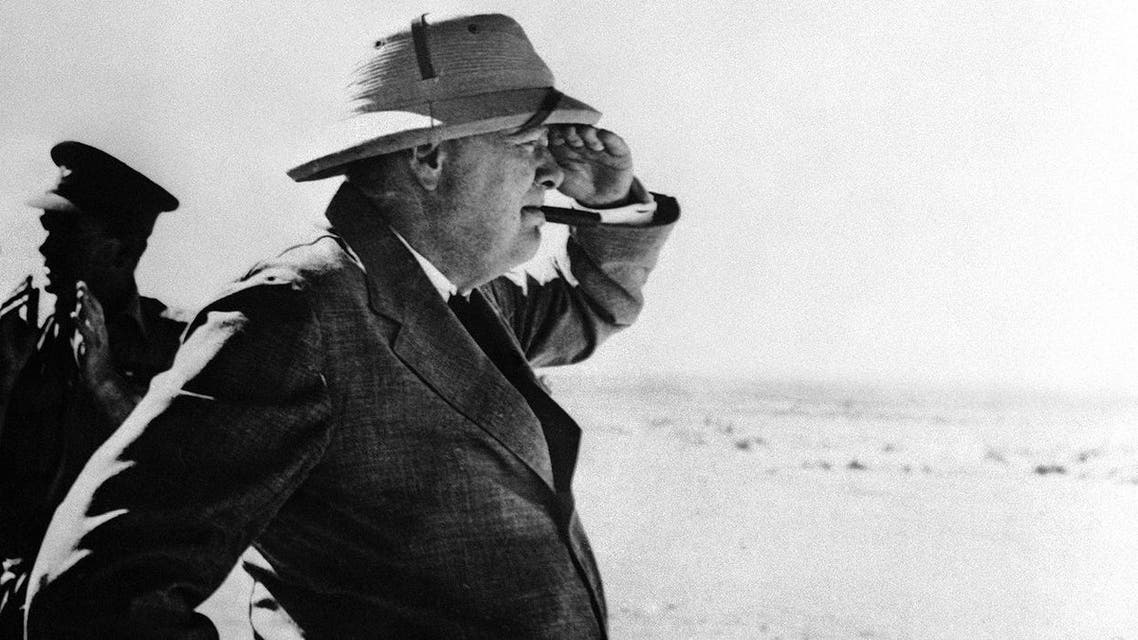 During his stay in the Middle East, Britain's Prime Minister Winston Churchill paid a visit to the Alamein area, meeting brigade and divisional commanders, visiting a gun site, and inspecting personnel of Australian and South African divisions, on August 19, 1942 in the western desert. (AP Photo)
