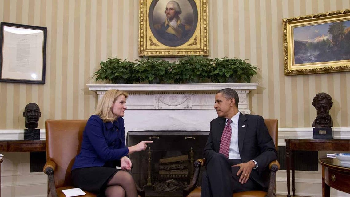 Barack Obama, right, during his meeting with Denmark's Prime Minister Helle Thorning
