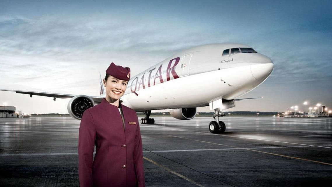"Asked if staff are fired when they get married, Baker said: ""That is not true. That is a load of bull****"". (Promotional image courtesy Qatar Airways)"