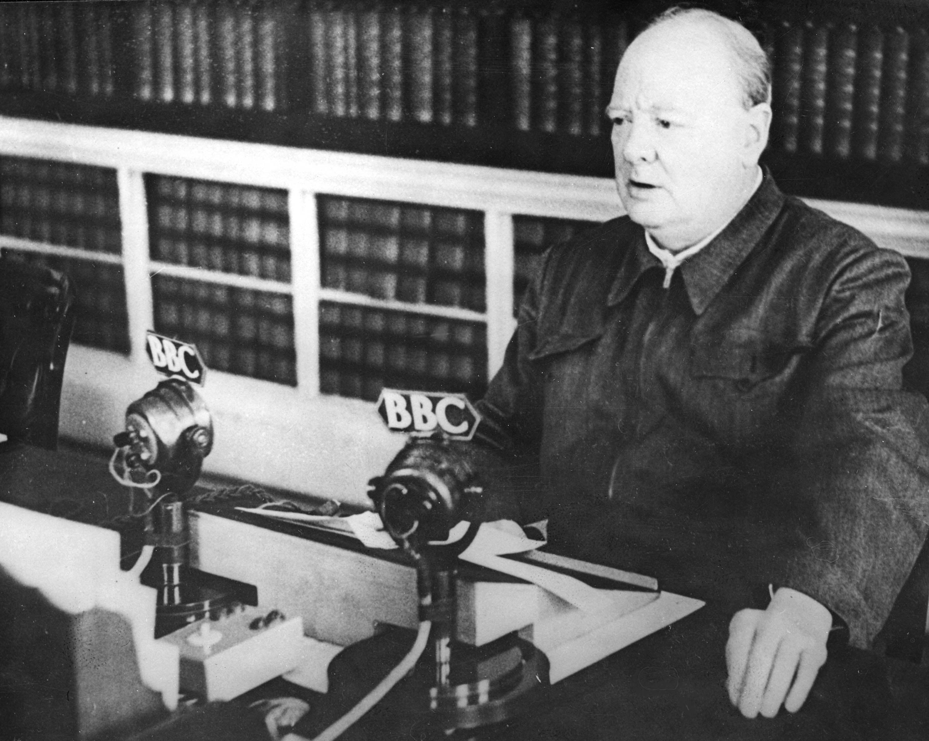 Britain's Prime Minister Winston Churchill makes a radio broadcast at No. 10 Downing Street, London, in November 1942. (AP Photo)