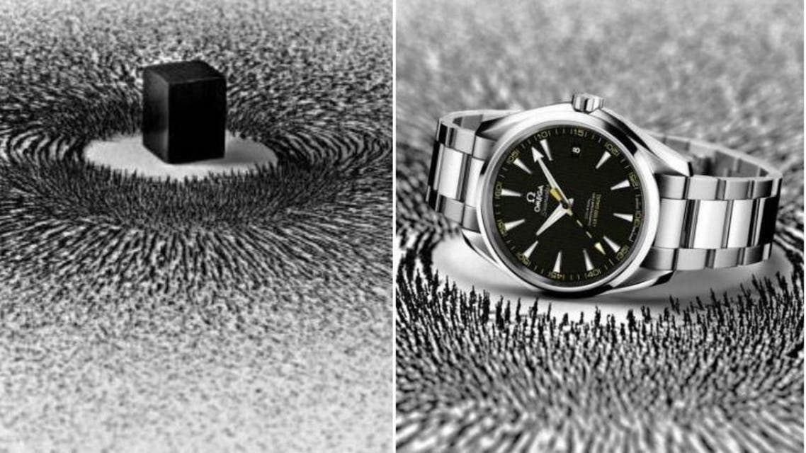 Left, the work of the Saudi artist; right, the company advertising of a watch from the OMEGA's Seamaster Aqua Terra collection. Photo credits: Ahmed Mater and EOA Projects / Omega Samaster Aqua Terra