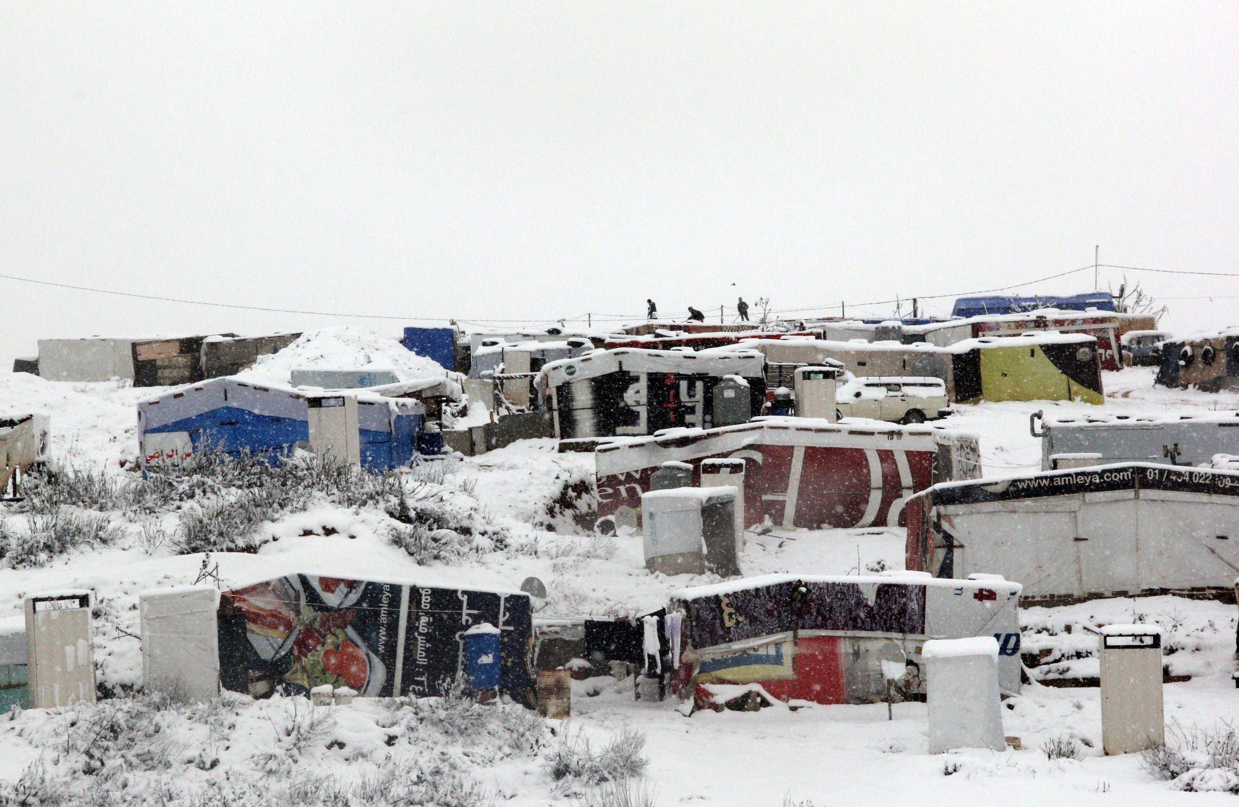 العاصفة تضرب اللاجئين السوريين في لبنان