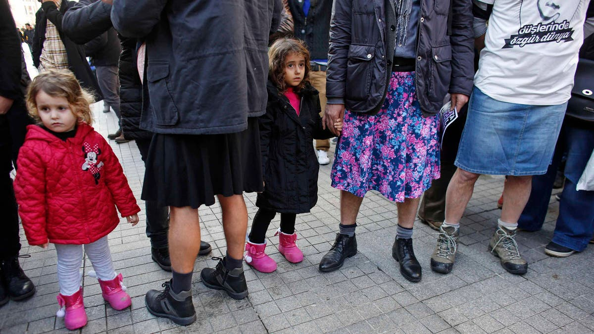 Turkish men don skirts to campaign for womens rights | Al