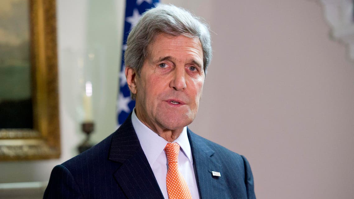US Secretary of State John Kerry talks during his press conference with Britain's Foreign Secretary Philip Hammond, not pictured, in central London Saturday Feb. 21, 2015. AP