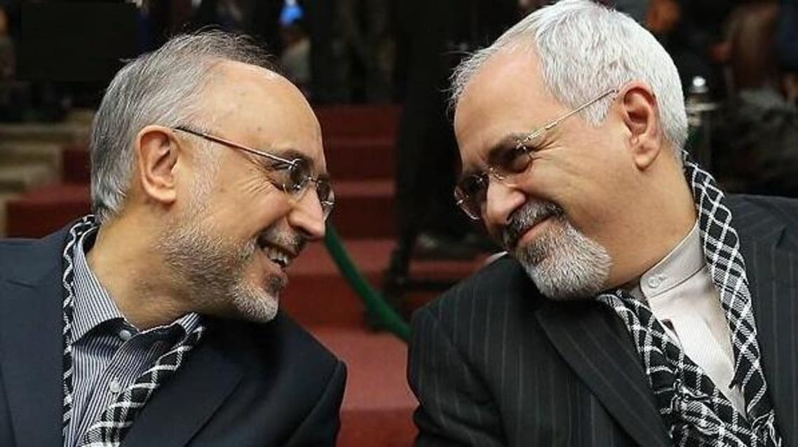 Iranian Foreign Minister Mohammad Javad Zarif (R) confers with the Head of the Iranian Atomic Energy Organization (IAEO) Ali Akbar Salehi. (FARS news agency)