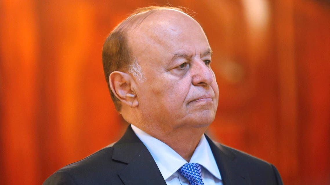Yemen's President Abdu Rabbu Mansour Hadi stands during a reception ceremony during the holy fasting month of Ramadan at the Republican Palace in Sanaa in 2014. (File photo: Reuters)