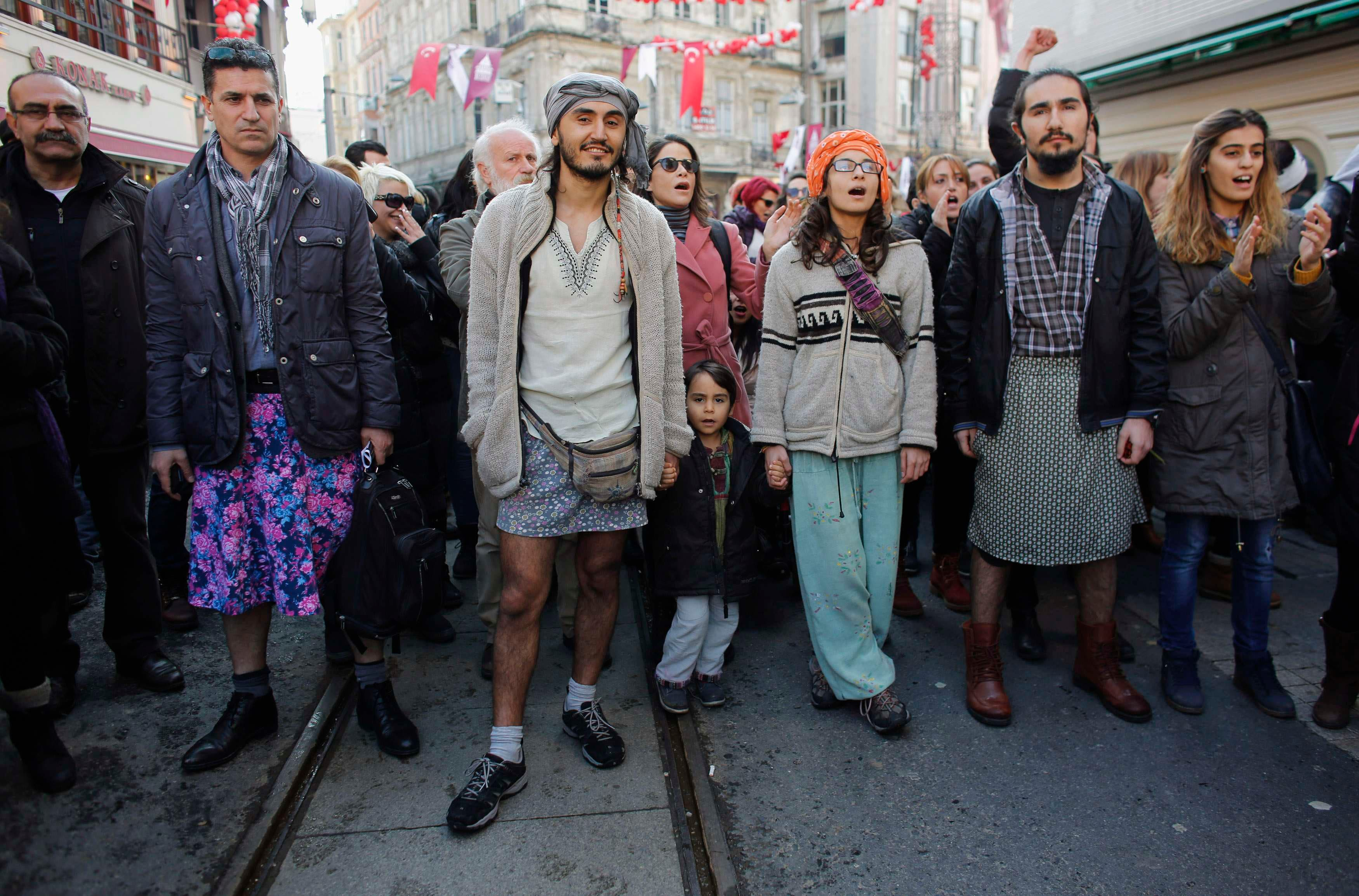 Turkish men wear skirts in protest against domestic violence