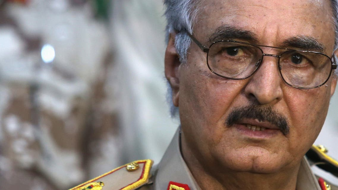Then-General Khalifa Haftar speaks during a news conference at a sports club in Abyar, east of Benghazi May 21, 2014. (Reuters)