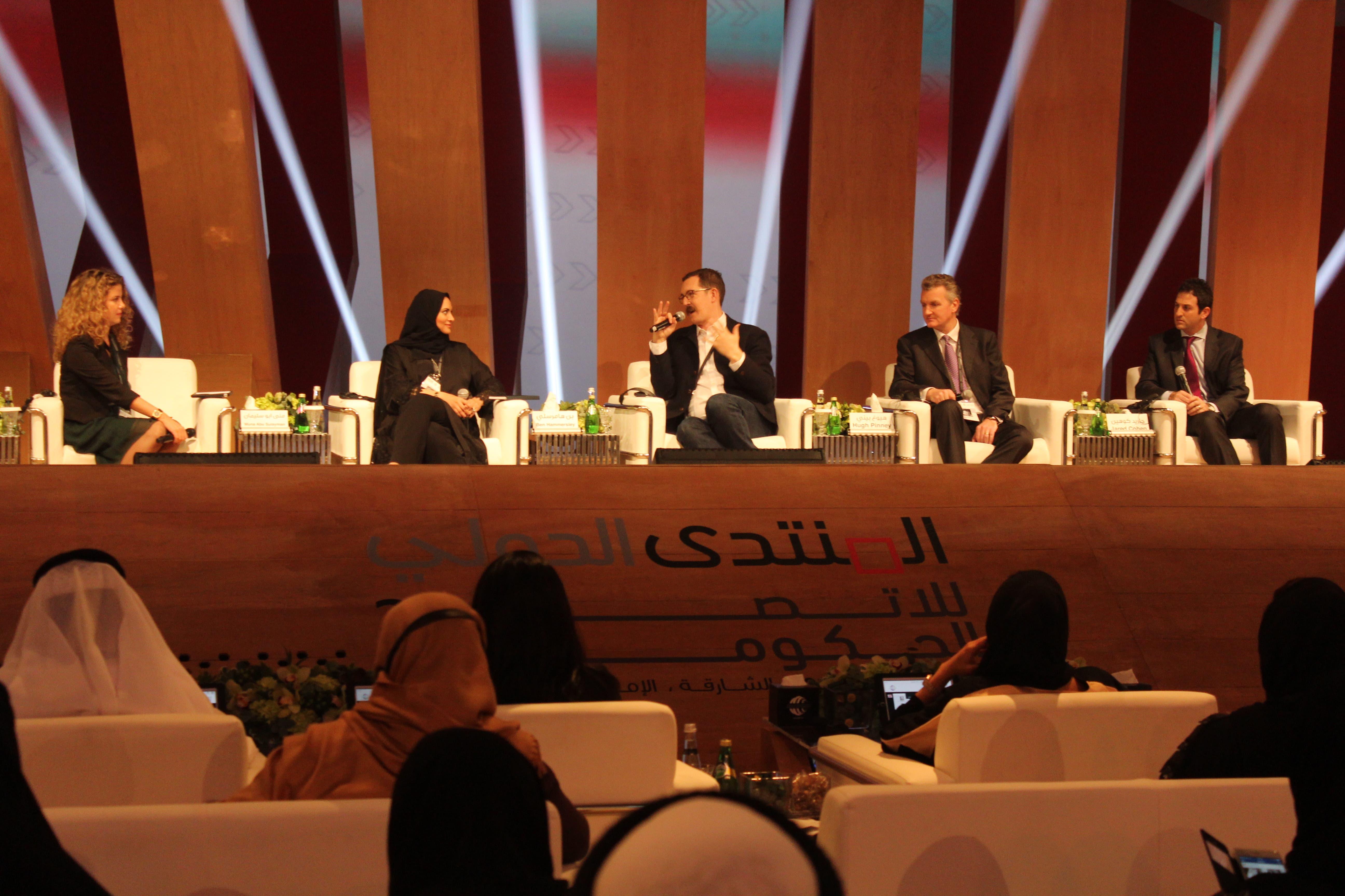Al Arabiya News Anchor Rima Maktabi (L-R), MBC presenter Muna Abu Sulayman, Journalist Ben Hammersley, Hugh Pinny from EMEA and Jared Cohen, founder of Google Ideas, participate in a panel at IGCF Sharjah. (Shounaz Meky/ Al Arabiya News)