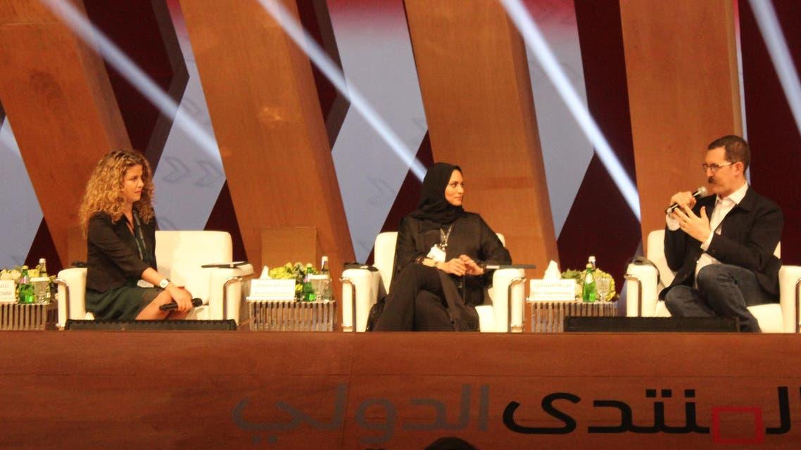 Al Arabiya News Anchor Rima Maktabi (L-R), MBC presenter Muna Abu Sulayman and Journalist Ben Hammersley during a panel at IGCF Sharjah. Shounaz Meky Al Arabiya