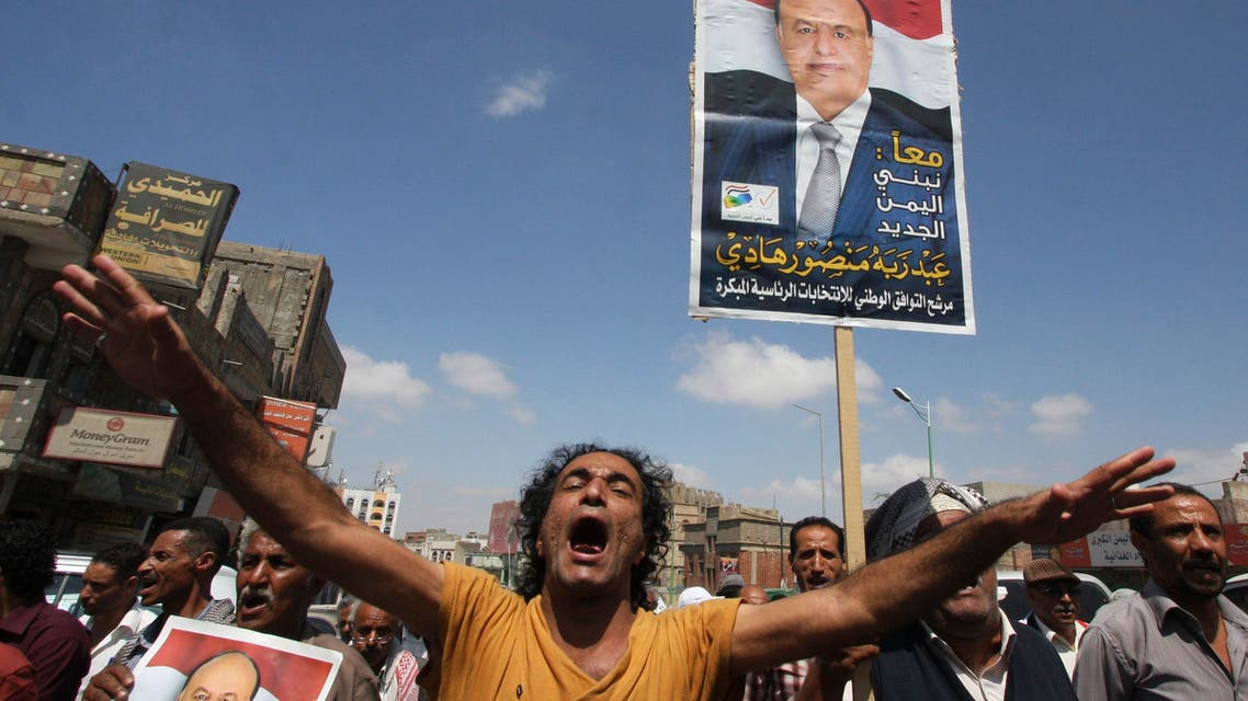 A protester shouts slogans during a demonstration to show support to Yemen's ousted president Abd-Rabbu Mansour Hadi in Yemen's southwestern city of Taiz February 22, 2015. (Reuters)