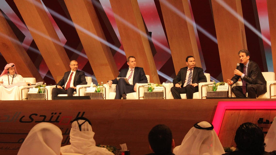 Al Arabiya's GM Turki Al-Dakhil (L-R), Microsoft's Khaled Hazem, UK Prime Ministry news planner Robin Gordon-Farleigh, Moroccan Minister Mustafa Al Khalfi and James Rubin, former U.S. assistant secretary of state for public affairs at IGCF Sharjah. (Al Arabiya News)