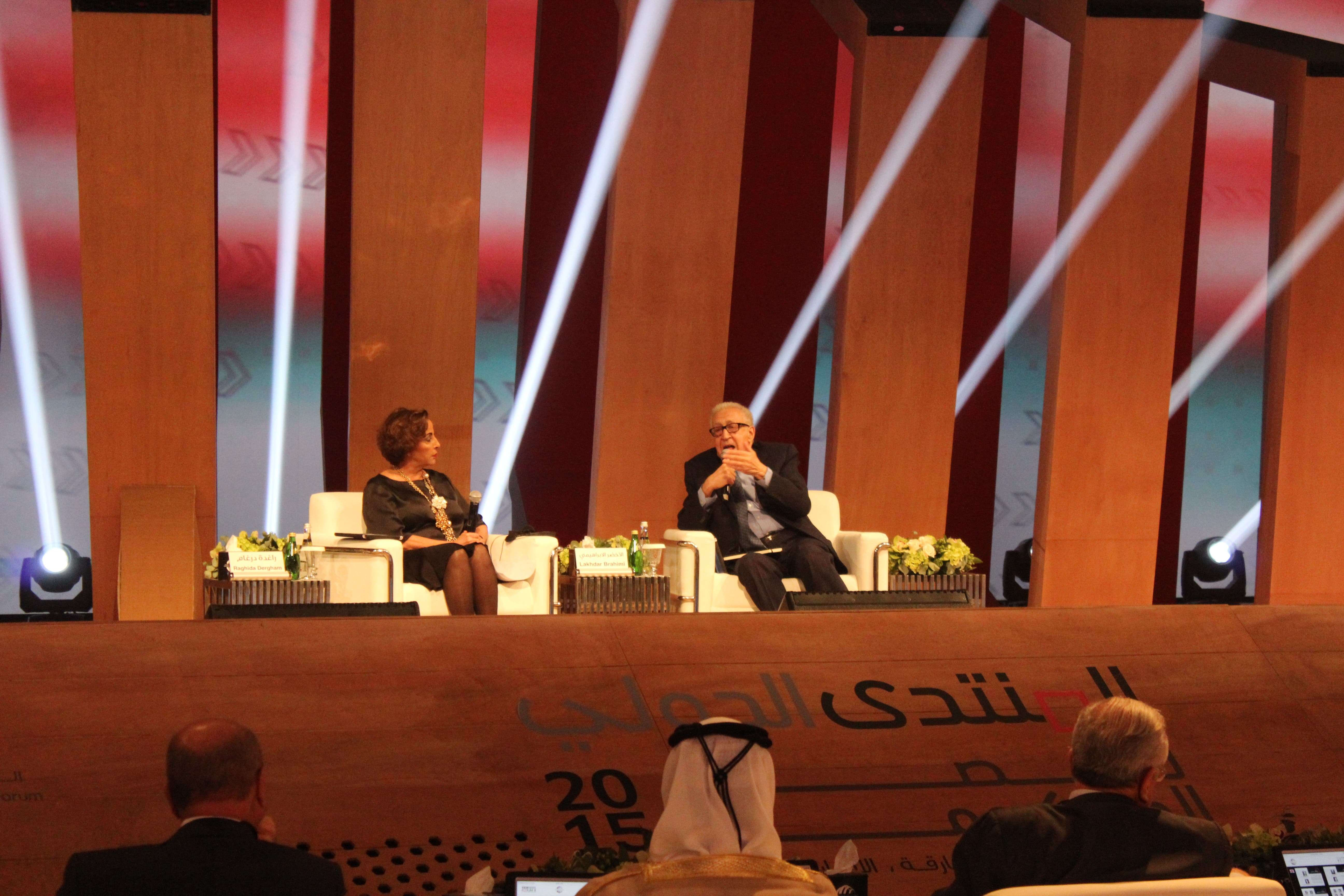 Lakhdar Brahimi speaking at the IGCF 2015 (Photo: Shounaz Meky)