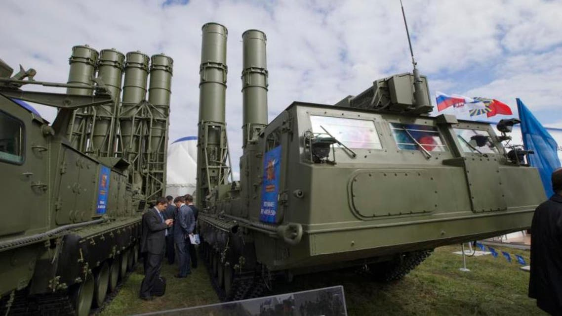 Russian air defense missile systems are displayed at the opening of the MAKS Air Show in Zhukovsky outside Moscow. (AP)