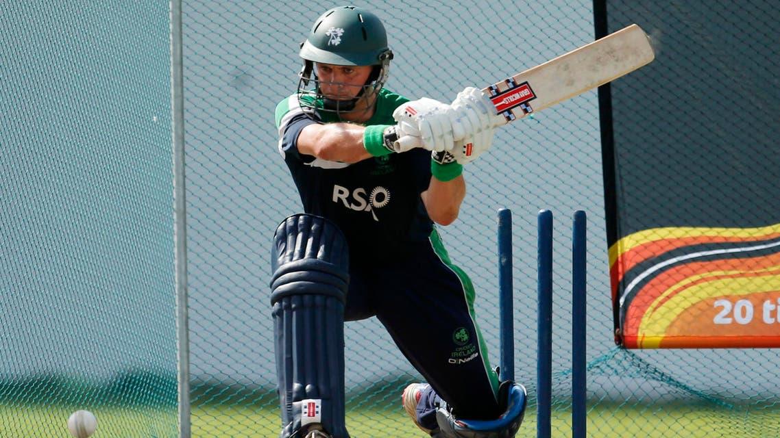 Ireland's cricket captain William Porterfield bats during a practice session in Colombo, Sri Lanka, Friday, Sept. 14, 2012. (AP Photo/Eranga Jayawardena)