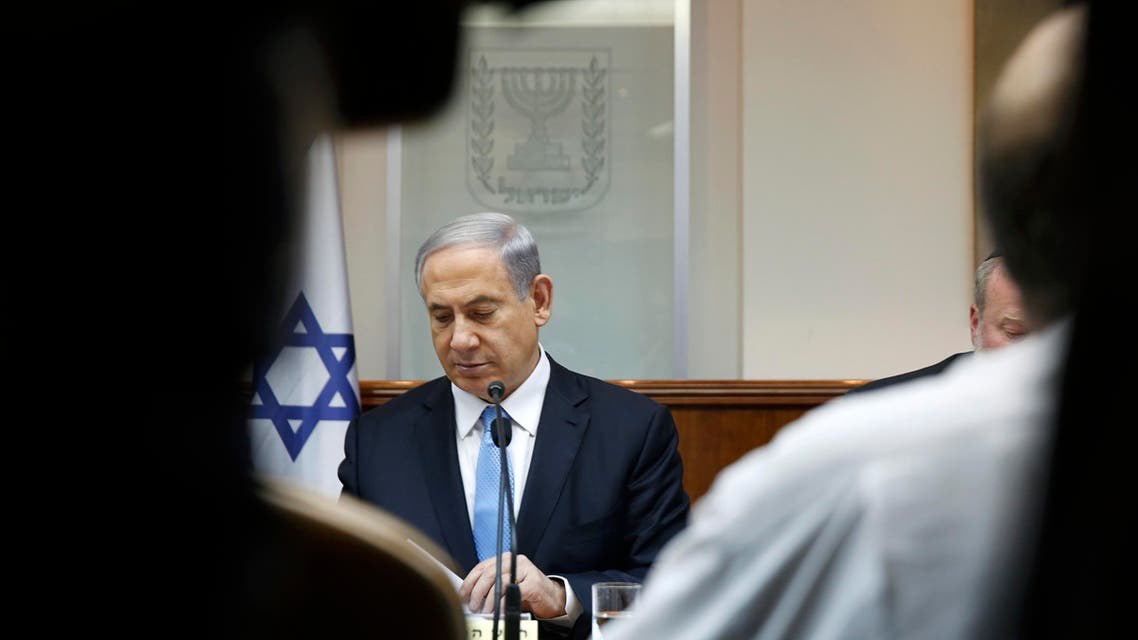 Israeli Prime Minister Benjamin Netanyahu attends the weekly cabinet meeting in his Jerusalem office, Sunday, Jan. 25, 2015. AP