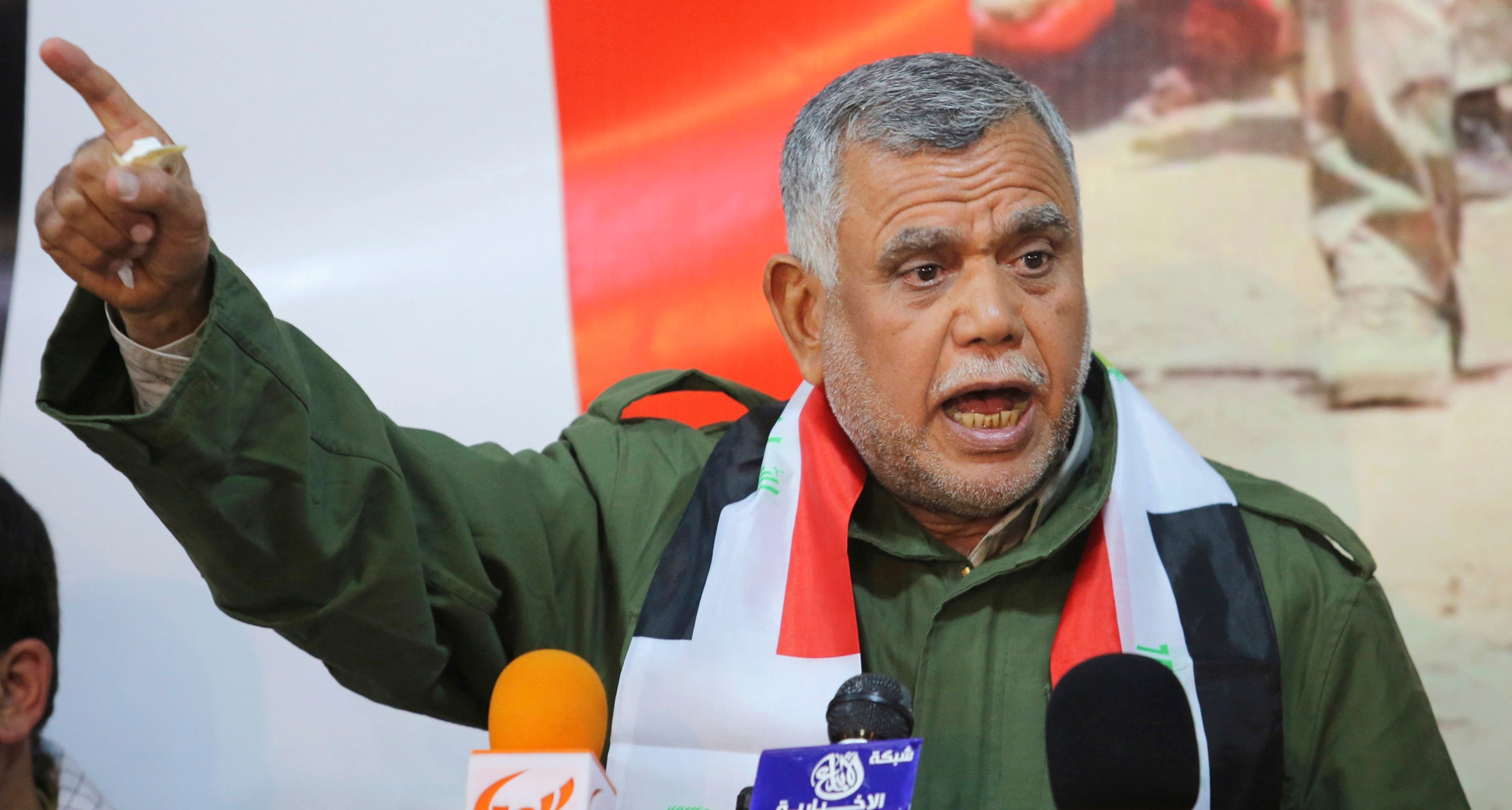 Head of the Badr Organisation Hadi al-Amiri speaks during a news conference on the outskirts of Diyala province, north of Baghdad February 2, 2015. Picture taken February 2, 2015. (Reuters)