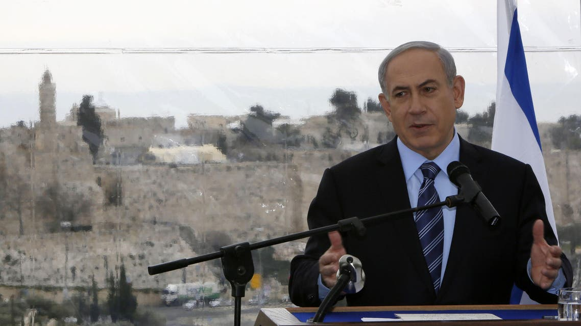 Israeli Prime Minister Benjamin Netanyahu speaks during a joint press conference with Jerusalem's mayor Nir Barkat (unseen) on February 23, 2015, a day after Barkat and his bodyguard apprehended a young Palestinian who stabbed an ultra-Orthodox Jew in Jerusalem. (AFP)