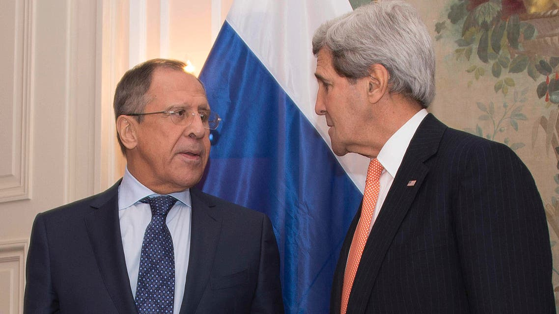 Secretary of State John Kerry talks with Russian Foreign Minister Sergey Lavrov at the start of their bilateral meeting at the 51st Munich Security Conference (MSC) in Munich, Germany, Saturday, Feb. 7, 2015.  (AP)