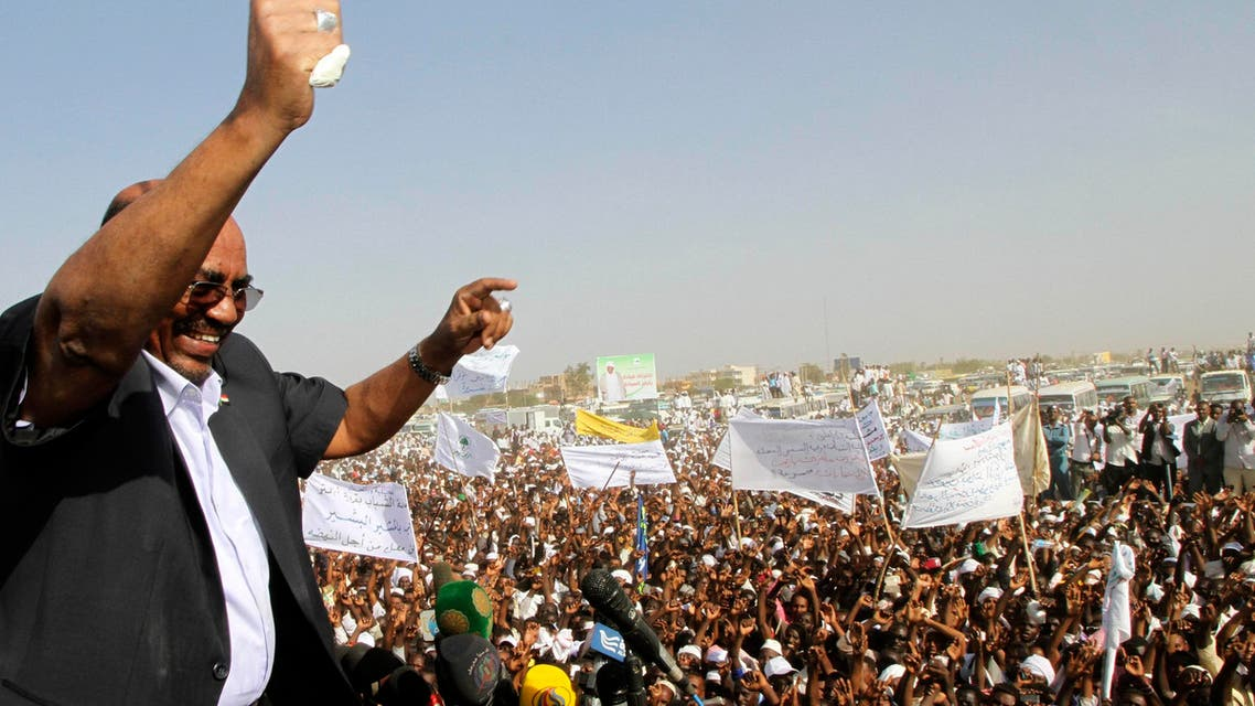 Sudanese President and National Congress Party (NCP) candidate Omar Hassan al-Bashir waves to supporters at the start of his election campaign ahead of the 2015 presidential elections in Madani, the capital of Jazeera state February 26, 2015. (Reuters)