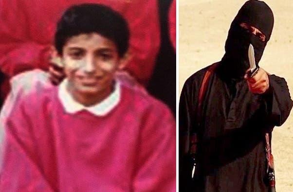داعش کے نقاب پوش جنگجو کی ویڈیو سے لی گئی تصویر،اس کو برطانوی میڈیا نے ''جہادی جان'' کا نام دیا تھا۔ساتھ اس کے بچپن کی تصویر ہے۔