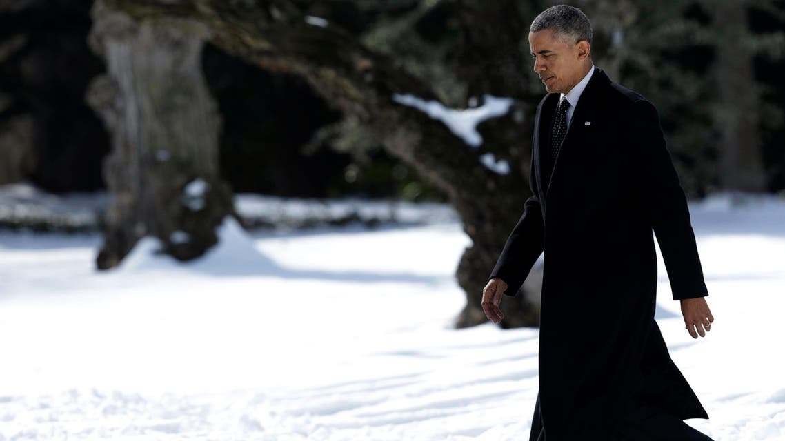 United States President Barack Obama departs the White House in Washington, for a day trip to Chicago, February 19, 2015. (Reuters)