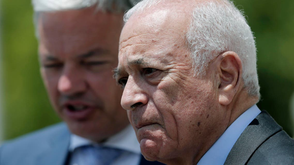 Arab League Secretary General Nabil al-Arabi looks on before a group photo during an EU-Arab league Foreign Ministers summit in Athens, on Wednesday, June 11, 2014. (AP)