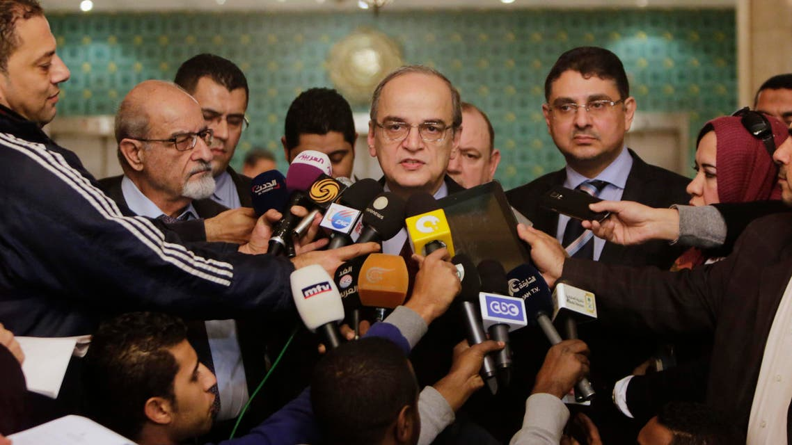 Hadi Bahra, the head of the Syrian National Coalition, the country's main political opposition group, speaks during a press conference following his meeting with the Arab League's Secretary-General Nabil Elaraby at the league's headquarters in Cairo, Egypt, Saturday, Dec. 27, 2014. (File photo: AP)