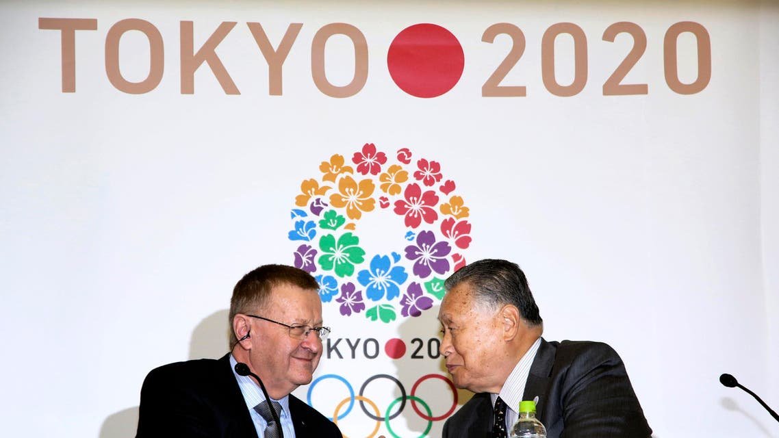 IOC Vice President John Coates, left, and Yoshiro Mori, president of Tokyo 2020 Organizing Committee of Olympic and Paralympic Games, in Tokyo Thursday, Feb. 5, 2015.  (Reuters)
