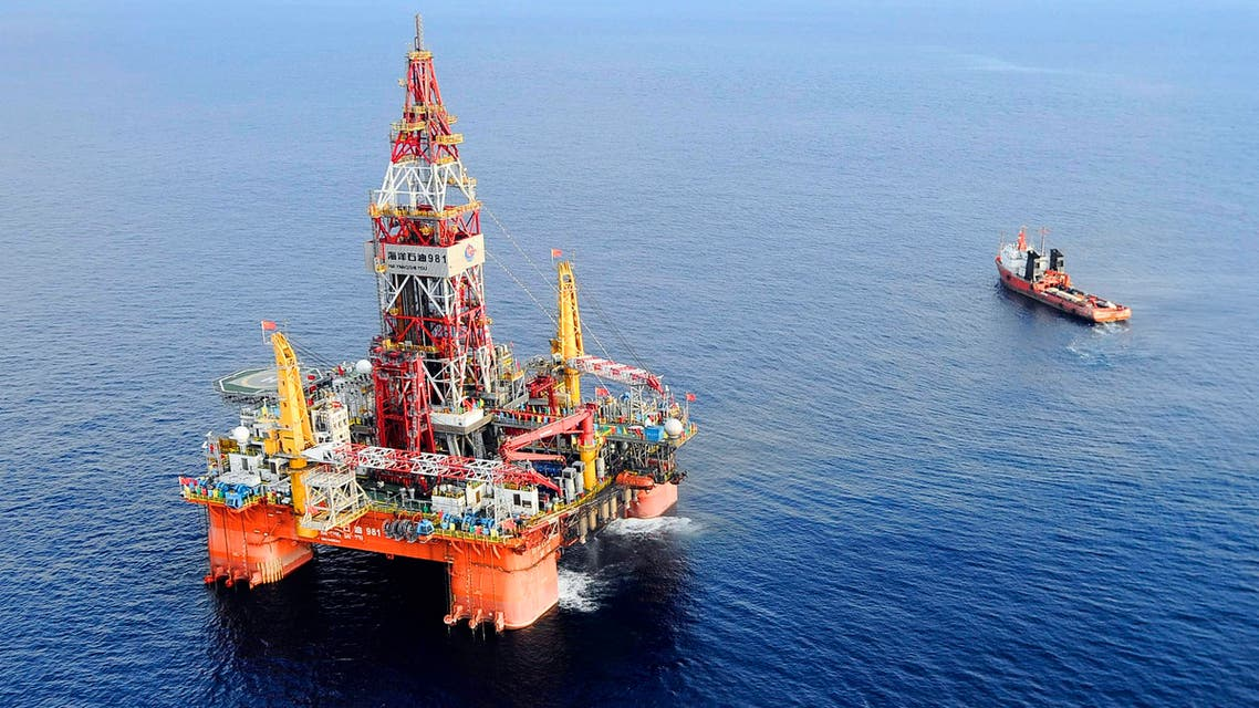 In this May 7, 2012 photo released by China's Xinhua News Agency, Haiyang Shiyou oil rig 981, the first deep-water drilling rig developed in China, is pictured 200 miles southeast of Hong Kong in the South China Sea. (AP)