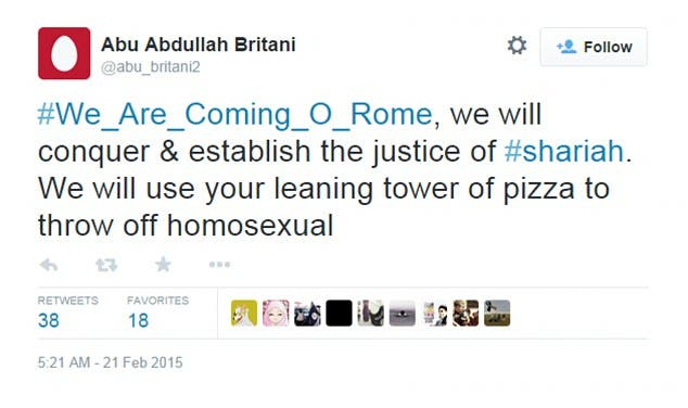 isis leaning tower of pizza tweet