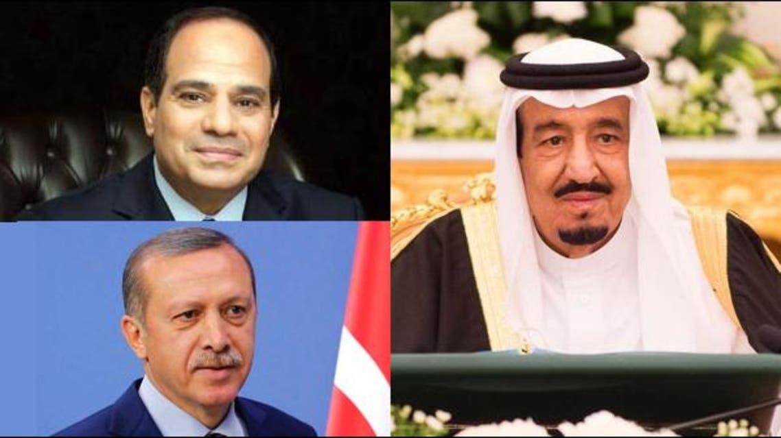 الملك سلمان و عبدالفتاح السيسي و اردوغان