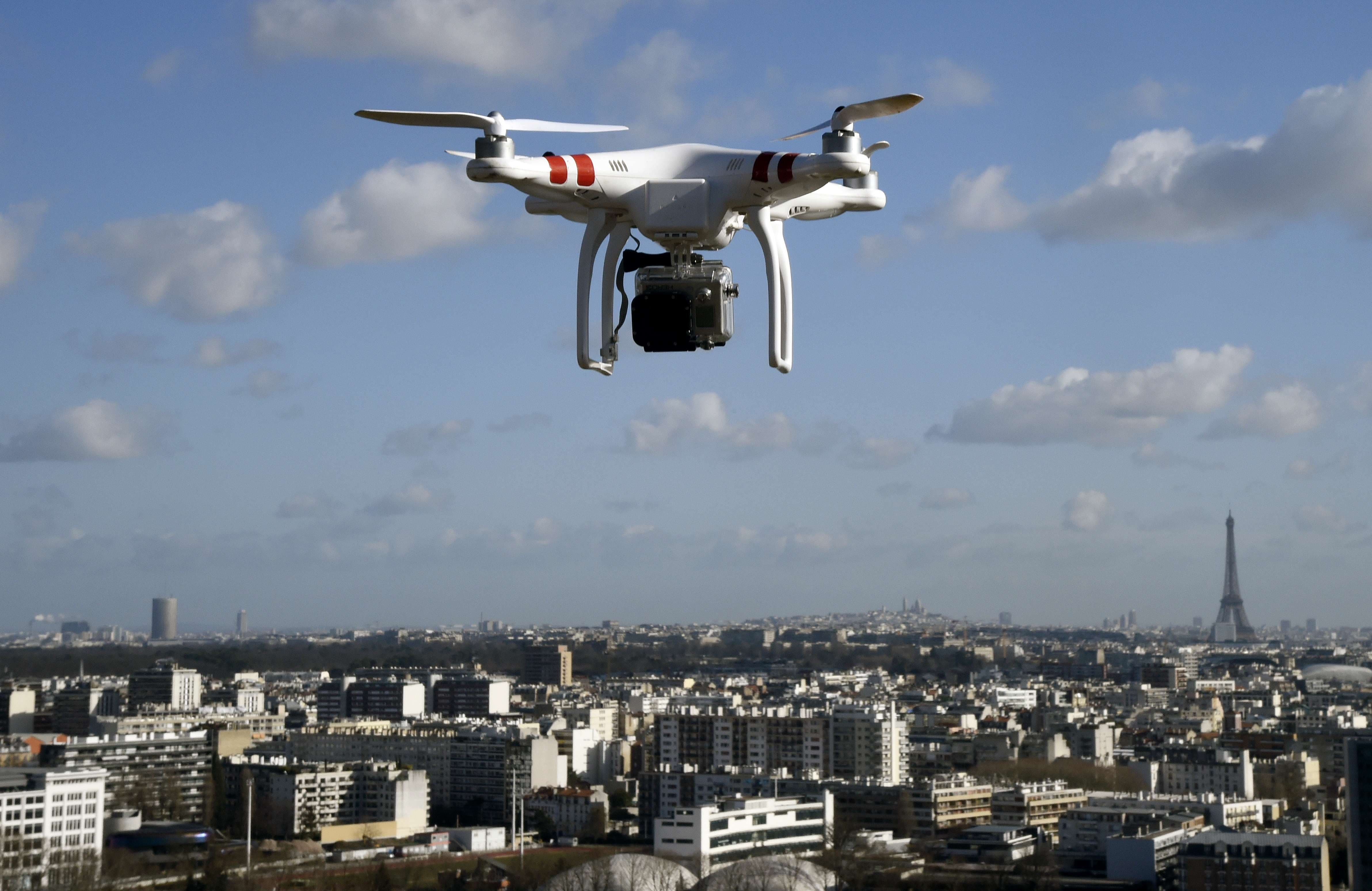 Illustrarion of a drone flying over Saint-Cloud on Febuary 27, 2015 in Paris. (AFP)