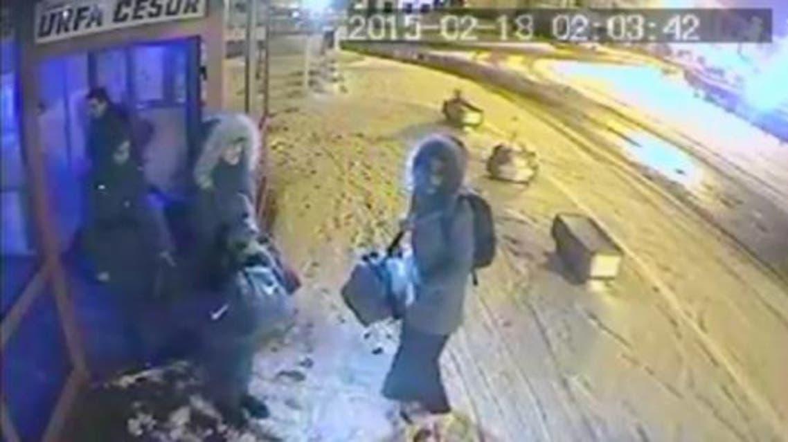 Images of Shamima Begum and Amira Abase, 15, and Kadiza Sultana, 16, show them waiting at bus station in Turkey. (Courtesy: BBC)