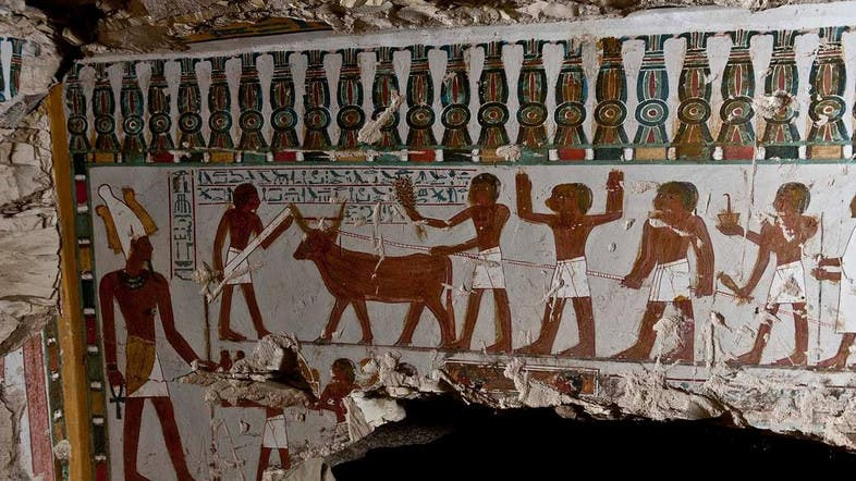 Archeologists find ancient tomb of temple guard in egypt s for Ancient egyptian tomb decoration