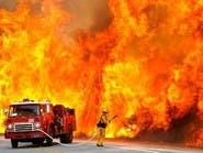 حريق ضخم بأوكرانيا يهدد مطارا عسكريا مجاورا